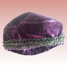 Purple Tam Hat For Doll With Jet Trim