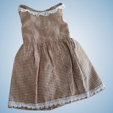 Brown and White Checked Jumper For Doll