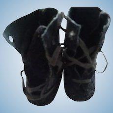 Vintage Faux Suede Doll Shoes