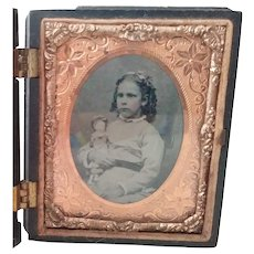 Victorian Tintype Child With Doll In Floral Full Case