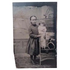 Victorian Tintype  Identified Child With Large Doll