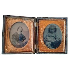 Victorian Case With Angel Carrying Baby and Tintype of Child With Doll and Possible Mother