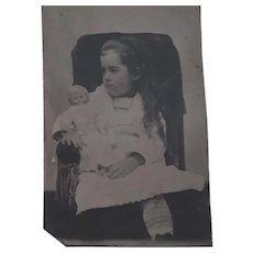 Pensive Victorian  Child and Doll Tintype