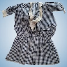 Blue and Whtie Checked Doll Dress