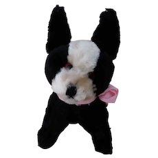 Vintage Small Black and White Stuffed Dog