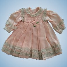 Peach Silk Dress With Smocking and Rosettes