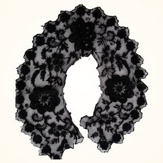 Black Tambour Lace Collar and Delicate Lace Piece