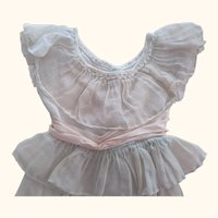 Doll Dress With Ruffles ,Lace and Pink Sash
