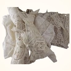 Bag of Imperfect Lace and Linens Including Tambour Lace Runner