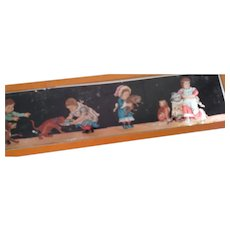 Lantern Slide With Children, Cats and Dog