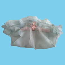 Blue Ruffled Organdy Doll Dress For Pudgy Toddler