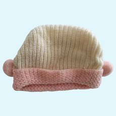 Knit Doll Hat With Pom Poms