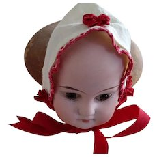 Red and White Cotton Hat For Small  Doll