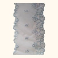 Wide Off White Lace With Blue Flowers