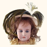 Straw doll Hat With Feather Trim