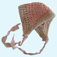 Silk Crochet Doll Bonnet