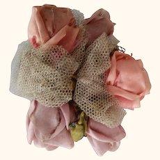 Two Early Handmade Silk Flower Trims