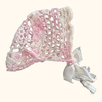 Pink, White and Off White Doll Bonnet