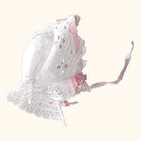 Small Eyelet Doll Bonnet