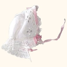 Small Eyelet Doll Bonnet