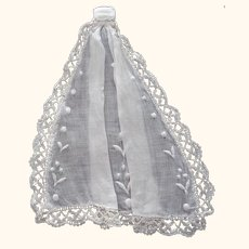 Early Jabot Fine Cotton Lawn, Lace Trim