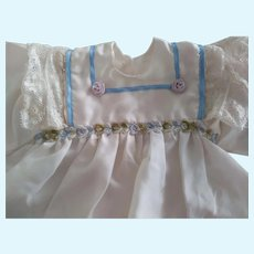 Artist Made Doll Dress With Rosettes and Lace