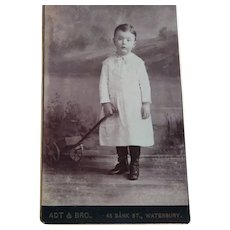 CDV of Boy and His Little Wagon