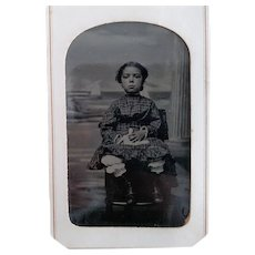 Victorian/Edwardian Tintype of A Girl In Plaid Dress With her China Doll