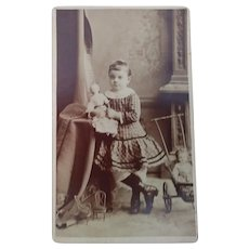 Victorian/Edwardian CDV Girl With Two Dolls, Pram and Chairs