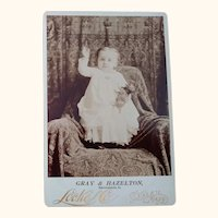 Cabinet Card of Baby and Toy Pug or Bull Dog