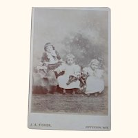 Cabinet Card, Two Girls With Dolls and Boy With Toy Dog