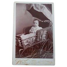 Cabinet Card Baby In Fancy Pram