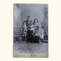 Cabinet Card With Four Children, Doll and Horse On Platform