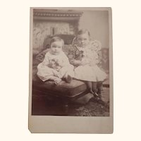 Cabinet Card Sister With Large  Doll and Brother With Ball Children Identified