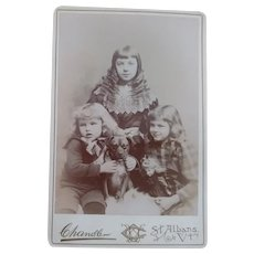 Cabinet Card With Three Children, Doll and  Pug Dog