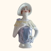 Large Pincushion Doll With Hat and Lustreware Blouse