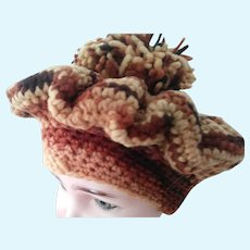 Knit Hat With Large Pom Pom For Doll