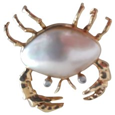 Crab Pin 14K Marked MB.
