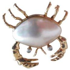 Crab Pin 14K Marked MB.