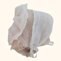 Net Doll Bonnet With Lace Trim