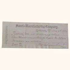 Sweet's Manufacturing Company , Syracuse NY REceipt