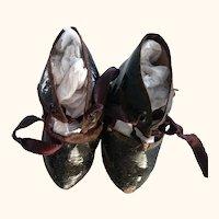 Black Oil Cloth Antique Shoes