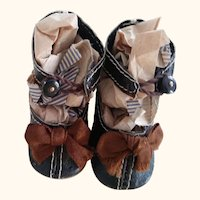Leather Doll Shoes With Toe Trim