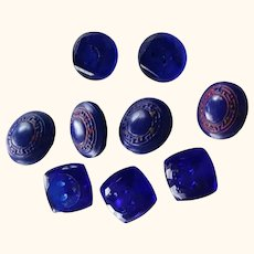 Small Colbalt Vintage Glass Buttons
