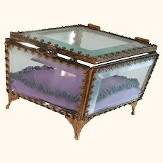 Octagon Shaped Gilt With Beveled Glass Jewelry Box