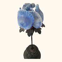 Early Blue Glass Flower On Metal Stand