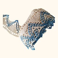 Blue and White Silk Crochet Trim