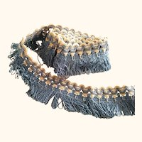 Early Silk Blue and White Looped Fringe