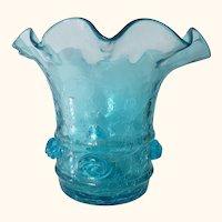 Blue  Hand Blown Crackle Glass Vase