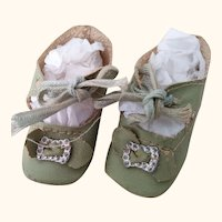 Small Green Oil Cloth Doll Shoes With Original Toe Decoration and Ties